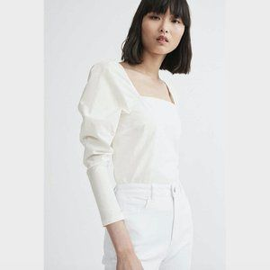 Witchery White Puff Sleeve Square Neck Top L
